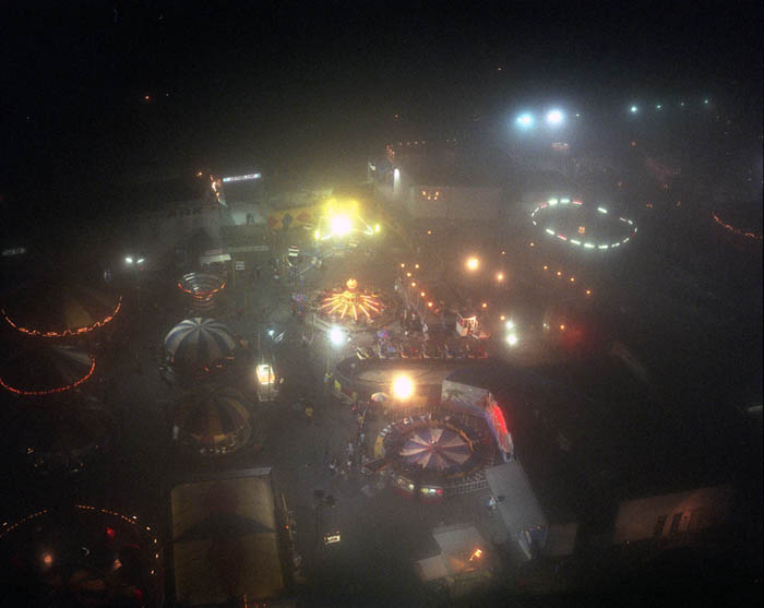 Misty night view of Astroland, Coney Island, 2003