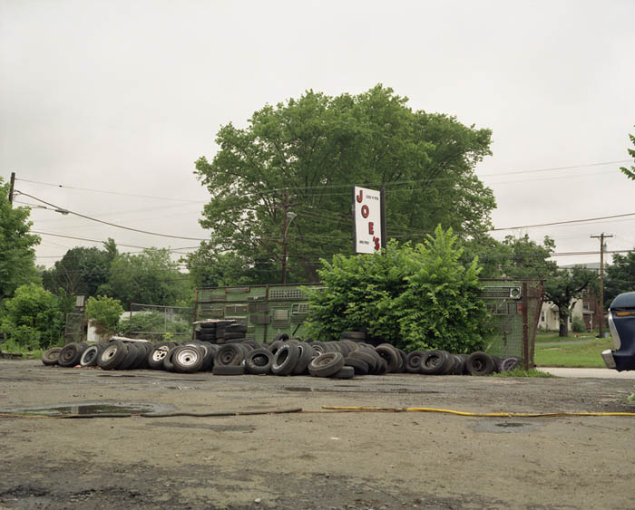 Joe&#039;s sign with tires, Trainer, Penna. 2003