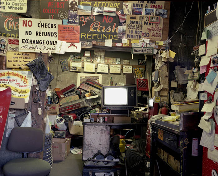 Junkyard office with TV, Trainer, Penna. 2001