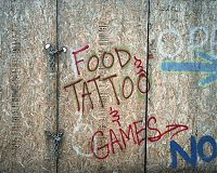 Food, Tattoo, Games, after a fire at Coney Island, NY 2011