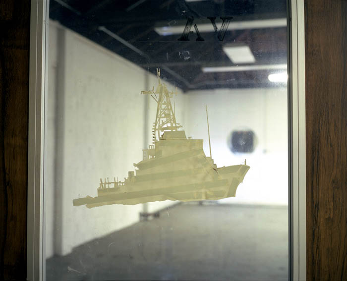 Ship on door of VA Library, Governors Island, NY 2003
