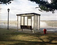 Bus stop with sea spray, Governors Island, NY 2003