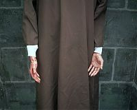 Monk's hands, Haunted Graveyard, Bristol, Conn. 2004